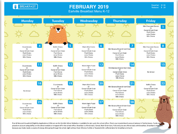 February 2019 K-12 Breakfast Menu