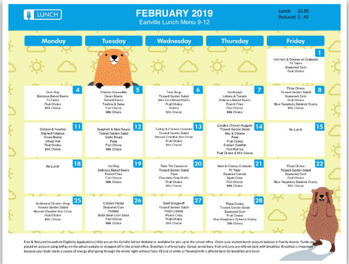 February 2019 High School Lunch Menu