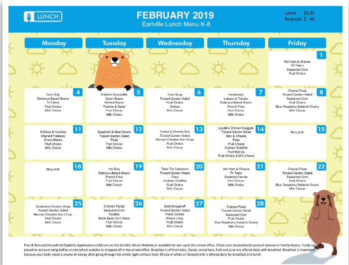 February 2019 K-8th grade lunch menu
