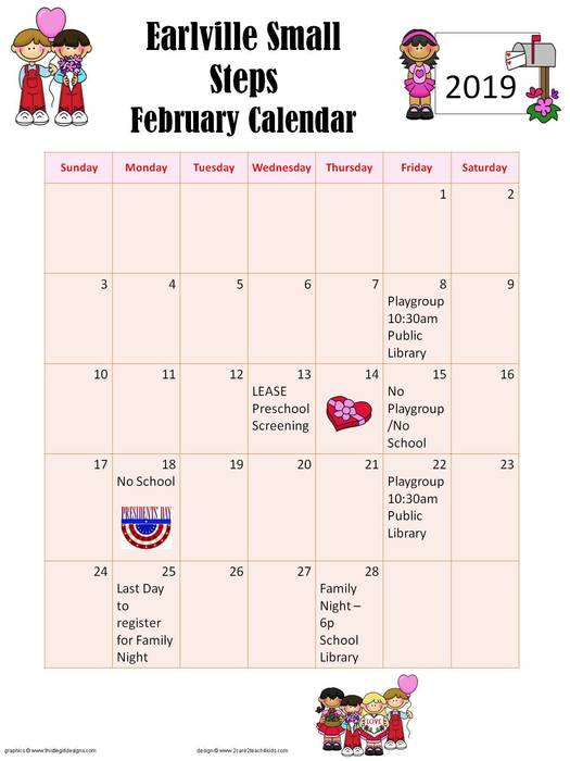 February Small Steps calendar.  Contact Debra Handzo at dhandzo@earlville9.rg with questions!