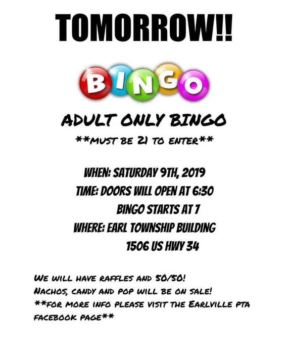 PTA Adult Bingo tomorrow 2/9/19