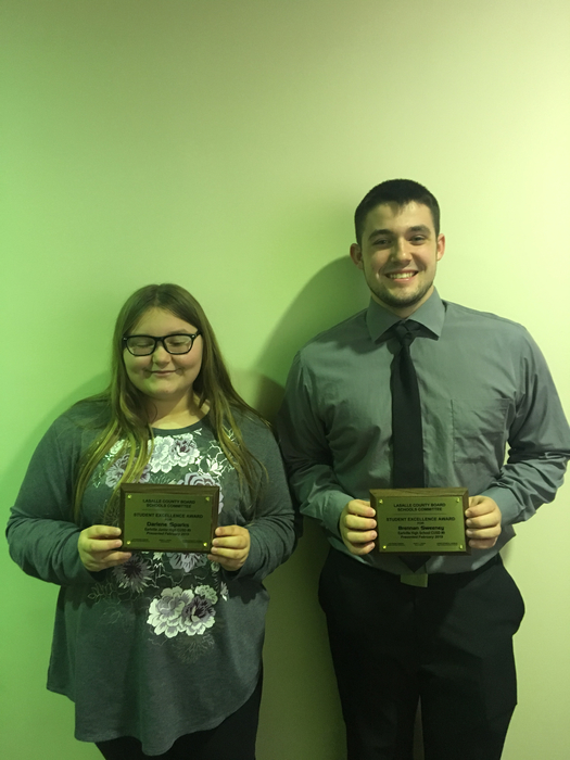 LaSalle County Student Awards Darlene Sparks and Brennan Sweeney