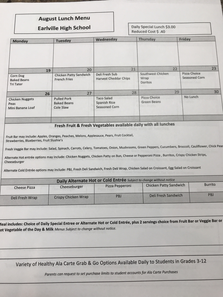 August High School Menu