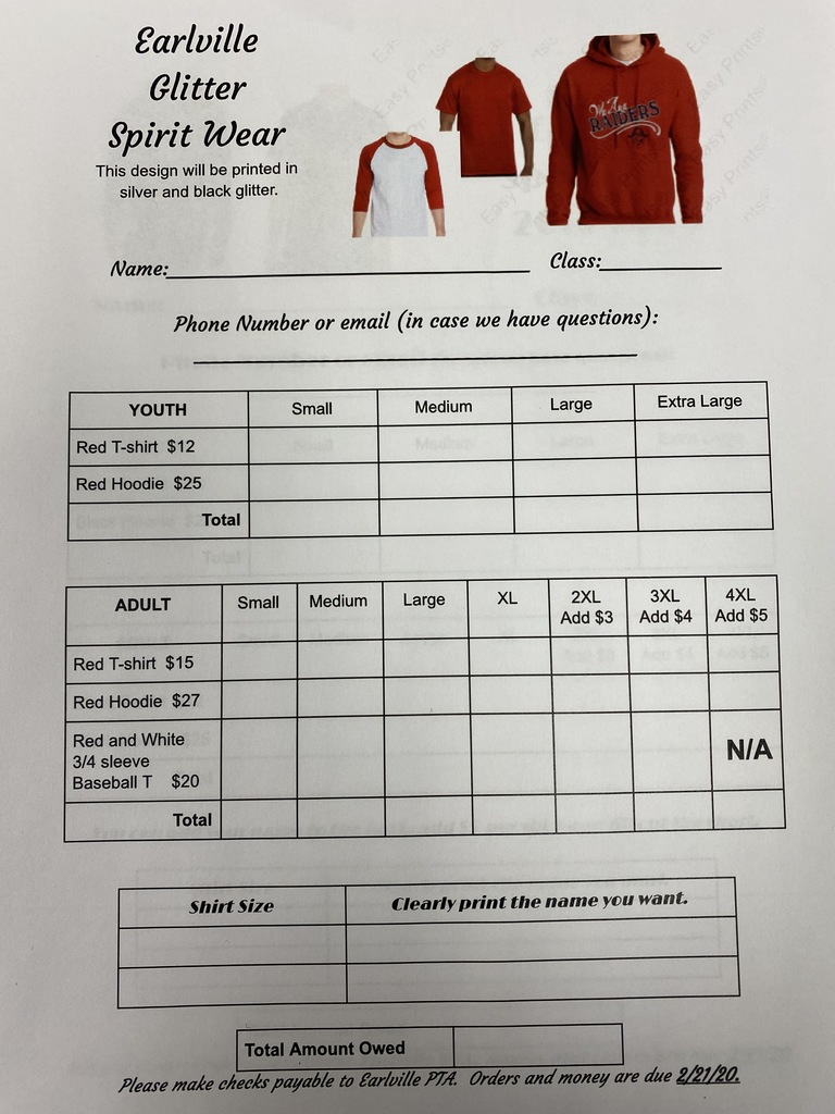 Red glitter design order form