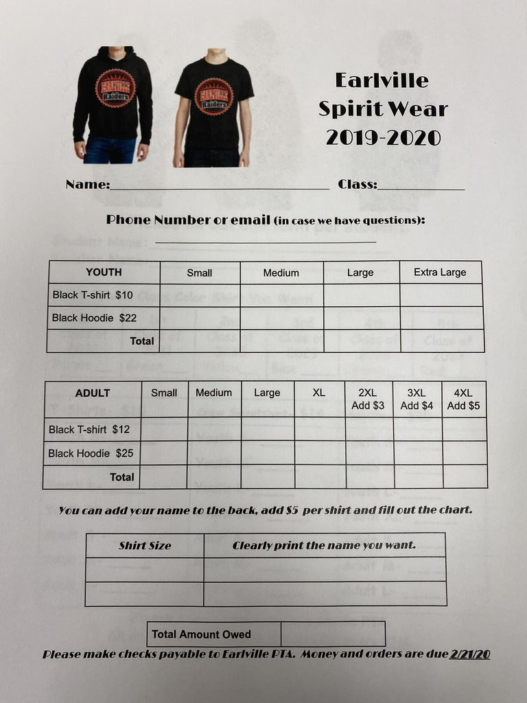 Black Spirit wear design order form.